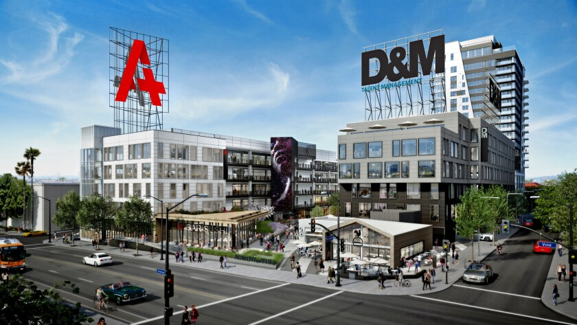 Rendering of Academy on Vine, which will have offices for rent, housing, stores and restaurants. It is under construction on the block surrounded by Vine Street and De Longpre, Ivar and Homewood avenues in Hollywood. Completion is set for early 2020.