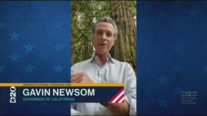 Gov. Gavin Newsom delivers remarks via video from Watsonville Thursday to the Democratic National Convention.