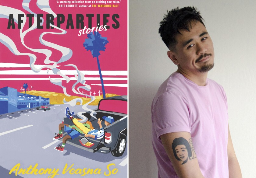 """Author Anthony Veasna So and the jacket of his highly anticipated story collection, """"After parties."""""""