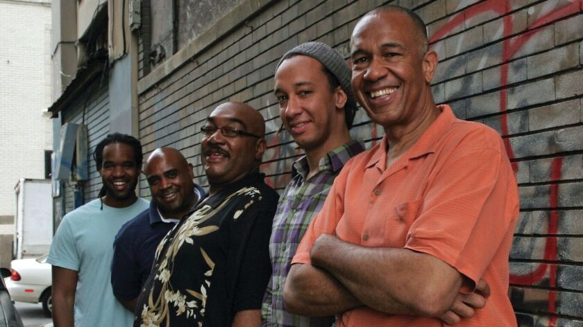 The Clayton Brothers Quintet's members are, from left, Obed Calvaire, Terell Stafford, Jeff Clayton, Gerald Clayton and John Clayton. Eric Reed replaces Gerald Clayton Monday in La Jolla.