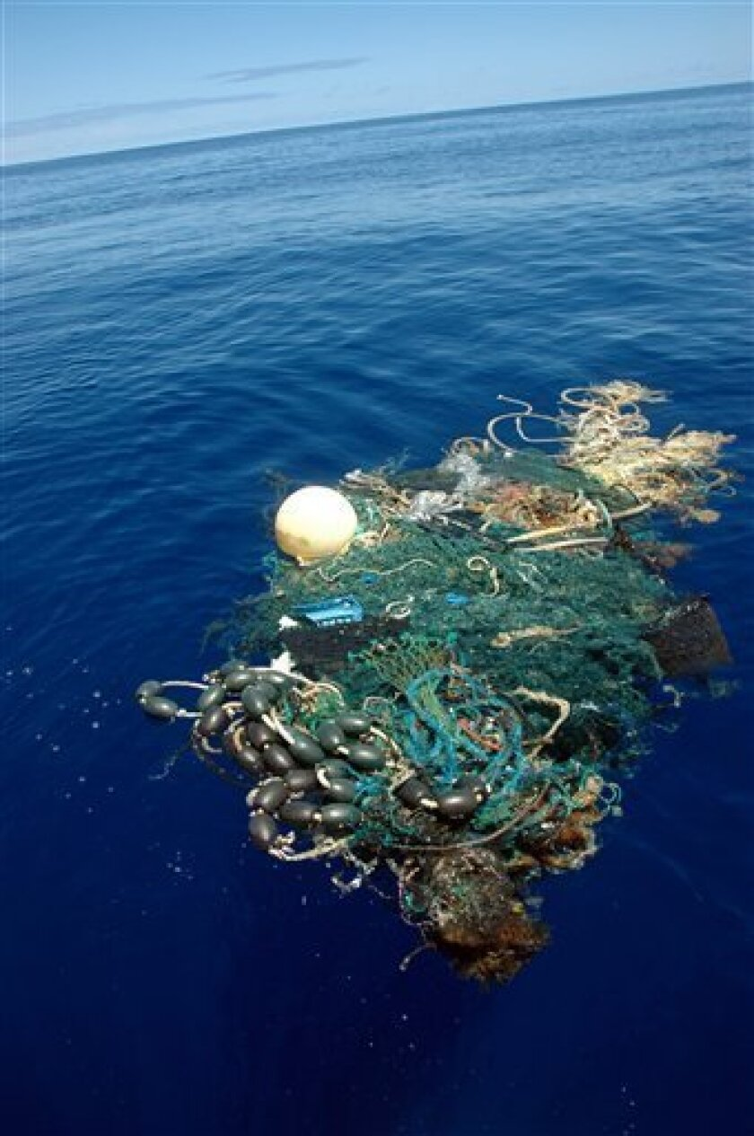 This image provided by the Scripps Institution of Oceanography shows a patch of garbage in the Pacific Ocean on Aug. 11, 2009. Scientists at Scripps Institution of Oceanography on Thursday, Aug. 27, 2009 announced findings from an August expedition to the Great Pacific Garbage Patch, about 1,000 mi