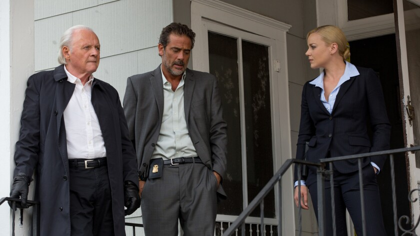 "Anthony Hopkins, left, Jeffrey Dean Morgan and Abbie Cornish in the movie ""Solace."""