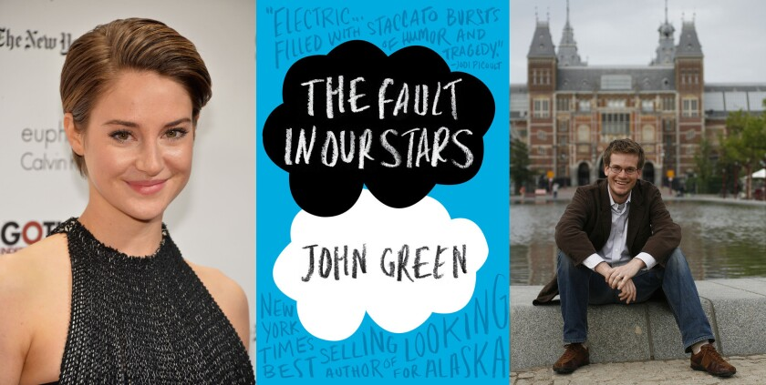"Shailene Woodley, left, stars in the upcoming film ""The Fault in Our Stars,"" adapted from the book by John Green, right."