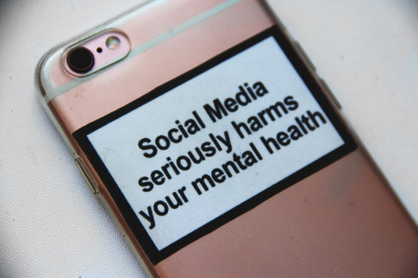 cell phone with message social media seriously harms your mental health.