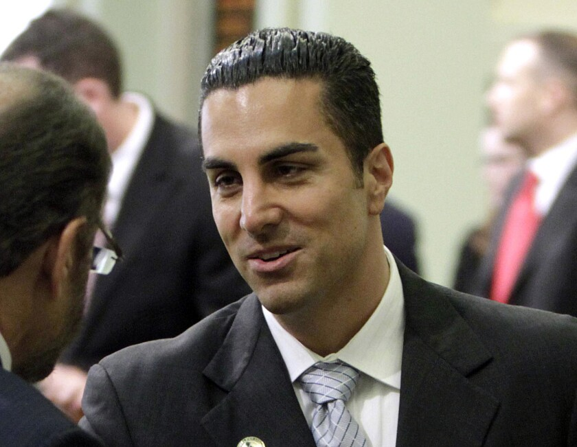 Assemblyman Mike Gatto talks after his swearing-in at the Capitol in Sacramento.