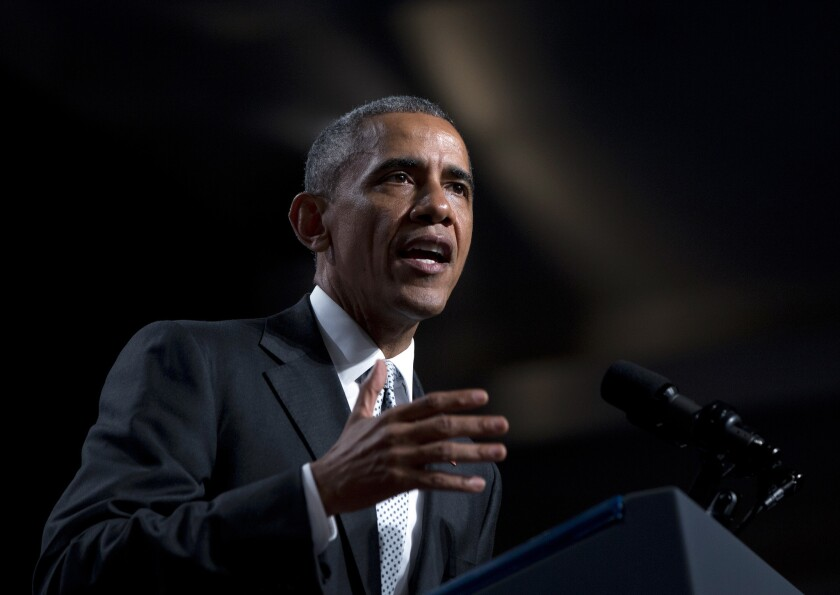 President Obama speaks at the U.S. Conference of Mayors in San Francisco.