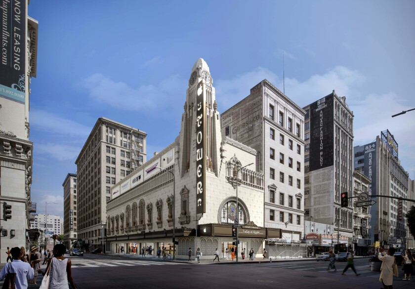 A rendering shows the historic Tower Theater at 800 S. Broadway after a renovation by Apple. The tech company will turn it into a flagship Apple store that will host classes, performances and other events.