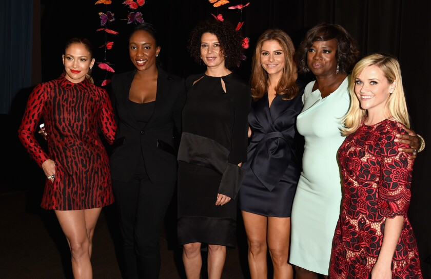Jennifer Lopez, left, Jessica Matthews,Donna Langley, Maria Menounos, Viola Davis and Reese Witherspoon at the 2014 Variety Power of Women awards luncheon at the Beverly Wilshire Hotel.
