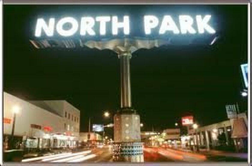 North Park's sign proclaims the center of the Mid-City community.