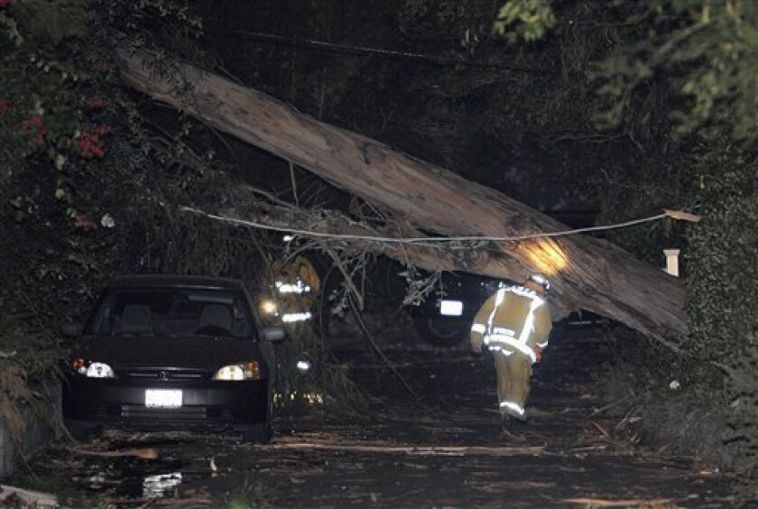 Los Angeles City firefighters look over a eucalyptus tree that fell on a house and knocked down power lines, Wednesday, Nov. 30, 2011, in Beverly Hills, Calif. Fierce Santa Ana winds hit Southern California on Wednesday night, causing scattered power outages and property damage, with gusts exceeding 50 mph. (AP Photo/Mark J. Terrill)