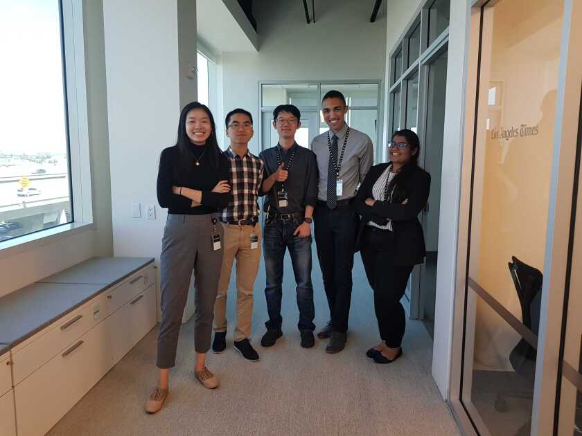 L.A. Times interns 2019 Genesia Ting, Zhen Fan, Alex Li, James Tyner and Mansi Ganatra