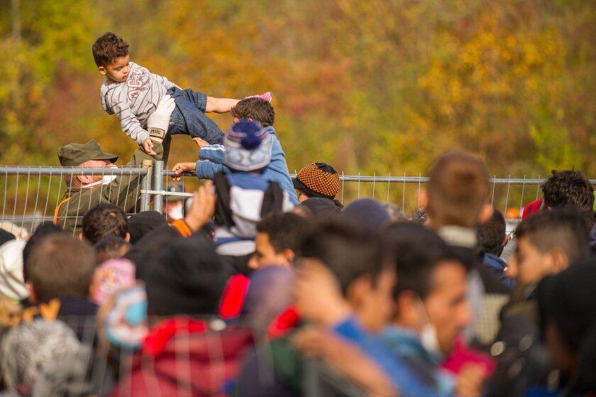Migrants wait at Slovenia border
