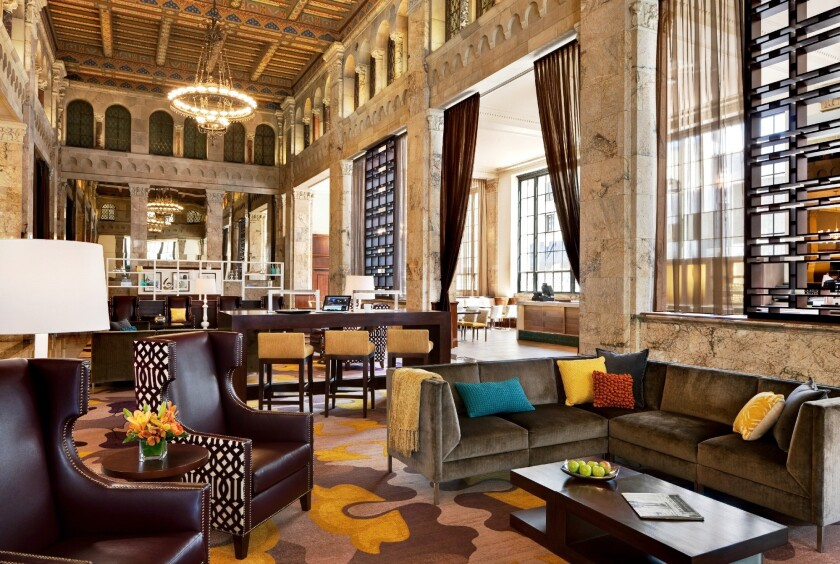 The lobby of the Courtyard Marriott