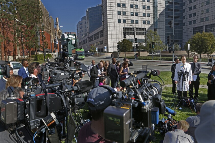 Dr. Zachary Rubin, associate clinical professor of infectious diseases at Ronald Reagan UCLA Medical Center, speaks during a Feb. 19, 2015, news conference outside the hospital addressing concerns about patients infected by a superbug during medical scope procedures.