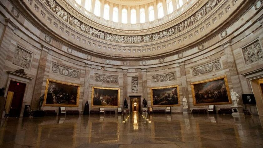 The empty U.S. Capitol Rotunda is seen during a partial government shutdown on Dec. 24.