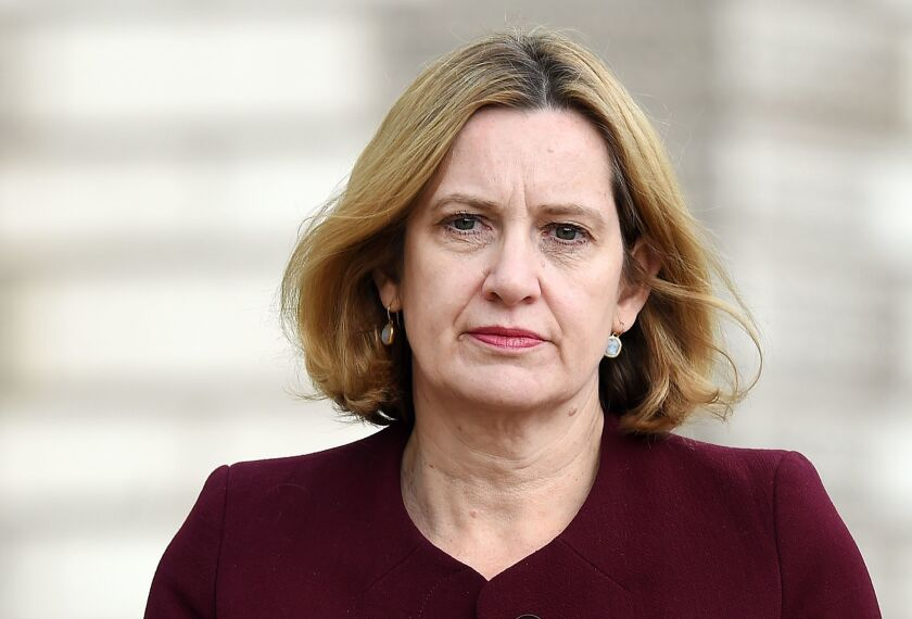 Britain's home secretary, Amber Rudd, leaves after attending a Cabinet meeting at Downing Street in central London, on April 24, 2018. Rudd resigned April 29 in the wake of an immigration scandal.
