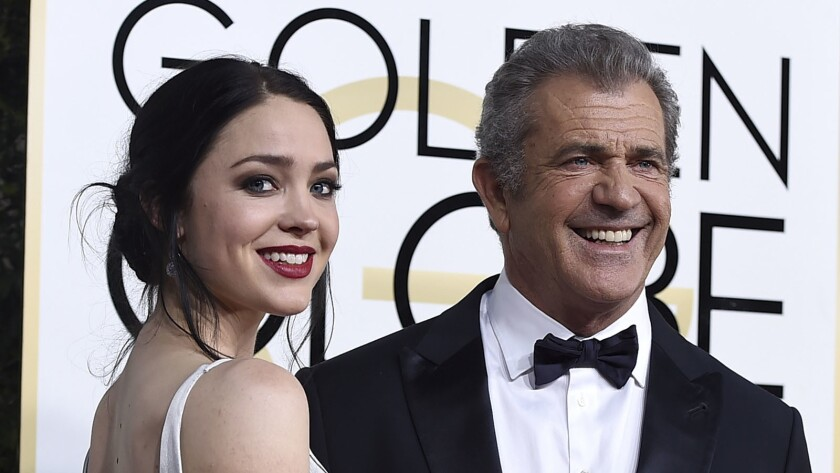 Rosalind Ross and Mel Gibson at the 74th Golden Globe Awards on Jan. 8, 2017.