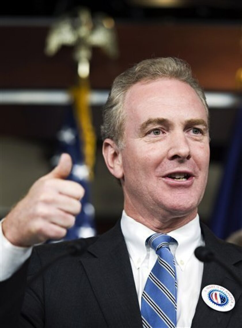 FILE - In this Sept. 30, 2010 file photo, Rep. Chris Van Hollen, D-Md. gestures during a news conference on Capitol Hill in Washington. Democrats, grasping to keep control of the House as polls show Republicans dangerously well-positioned to seize it, are pouring money into roughly two-dozen districts around the country and pulling it back from others in the closing weeks before midterm elections. (AP Photo/Cliff Owen, File)