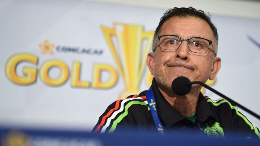 Mexico coach Juan Carlos Osorio speaks at a press conference ahead of the Gold Cup opener Sunday against El Salvador at Qualcomm Stadium.
