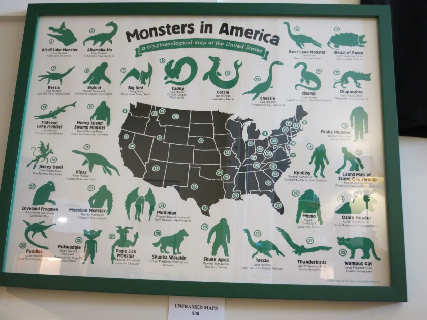 Monsters in America: A cryptozoological map of the U.S. can be bought at the International Cryptozoology Museum.