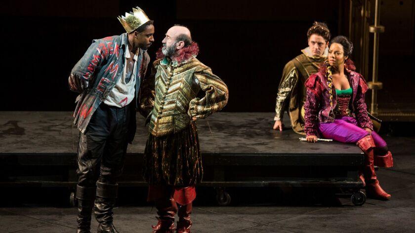 (from left) Grantham Coleman as Hamlet Patrick Kerr as Polonius, Kevin Hafso-Koppman as Rosencrantz,