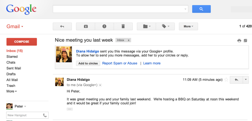 A new feature lets strangers who use Google+ send email messages to Gmail users. Above, an image from Google of how such a message looks.