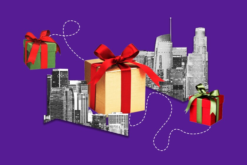 A photo illustration of wrapped gifts and the L.A. skyline.