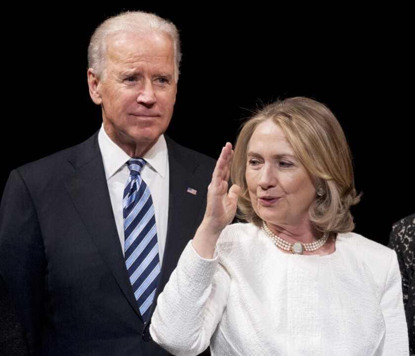 Over the last quarter of a century or so, Hillary Rodham Clinton and Joe Biden, shown above in Washington in 2013, have collaborated and competed, shared more than a dozen staff members, and served in President Obama's Cabinet. Now, their long relationship is being tested as he considers a presidential run.