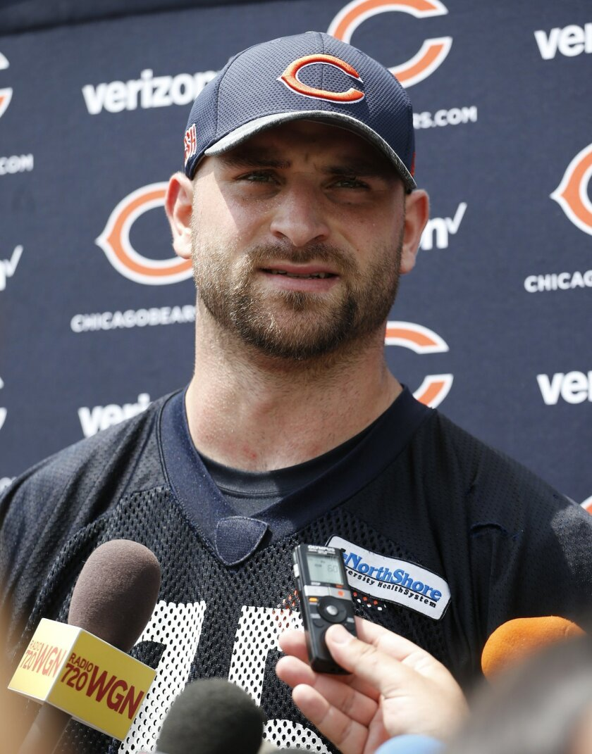 Chicago Bears offensive line Kyle Long talks to the media after NFL football practice Wednesday, May 25, 2016, in Lake Forest, Ill. (AP Photo/Nam Y. Huh)