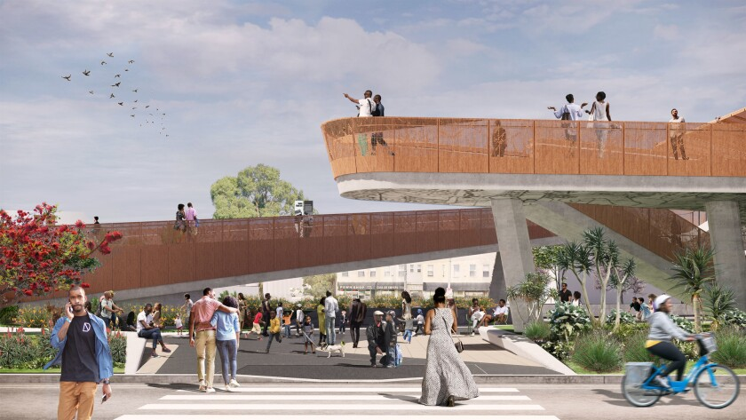 A rendering from the Destination Crenshaw project shows the upper level of the viewing deck of the p