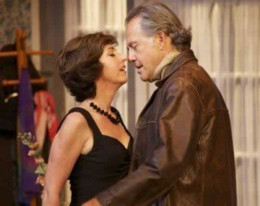 Richard (Mark Pinter) and Sarah ((Elaine Rivkin) get creative to  liven up their marriage in Harold Pinter's 'The Lover,' through June 17 at the North Coast Repertory Theatre. Aaron Rumley