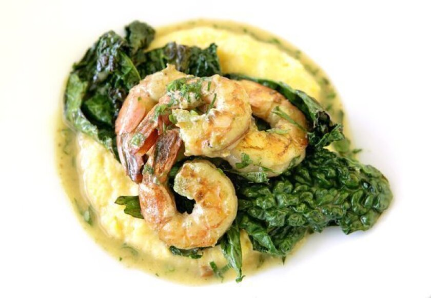 Shrimp and grits with dinosaur kale