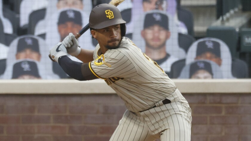 Padres catcher Francisco Mejia was placed on 10-day injured list with a bruised left thumb.