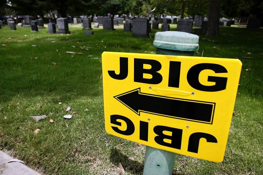 JCL Barricade Co. in Los Angeles makes as much as 80% of the yellow signs by film and TV production companies in the L.A. area. Above, a sign for a movie shoot at Mountain View Cemetery in Altadena.