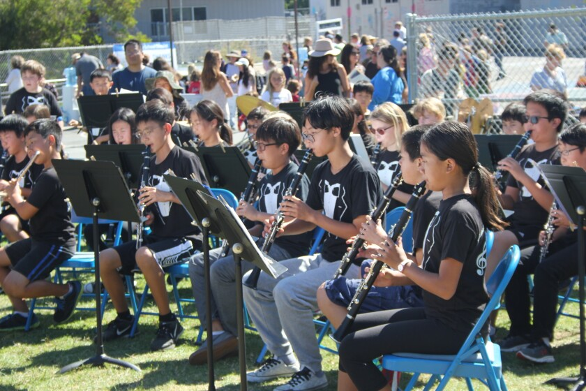 The Solana Beach School District band performs.
