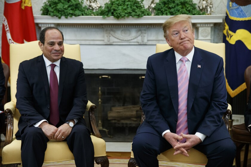 """FILE - In this April 9, 2019 file photo, President Donald Trump meets with Egyptian President Abdel Fattah el-Sisi in the Oval Office of the White House in Washington. El-Sissi thanked Trump late Monday, Nov. 4, for his """"generous concern"""" for helping revive Egypt's deadlocked dispute with Ethiopia over its construction of a massive upstream Nile dam. (AP Photo/Evan Vucci, File)"""