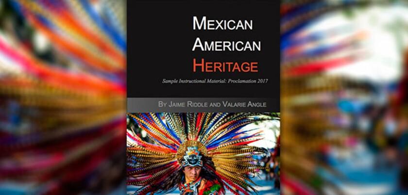 Portada del polémico libro de texto para educación secundaria titulado 'Herencia mexicano-estadounidense'.