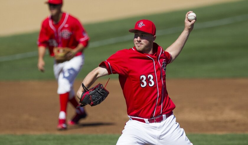 [February 21, 2016] SDSU starting pitcher Brett Seeburger pitched for 5 innings, striking out 5 and giving up 4 hits in game three of the Aztec's series against the Oregon Ducks on Sunday afternoon. Chadd Cady/For The San Diego Union-Tribune