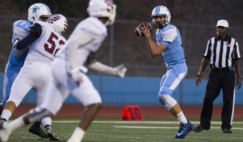 University City quarterback Kees Van Daelen looks downfield for an open receiver in Friday's game against Scripps Ranch, which dealt the Centurions their first loss of the season.