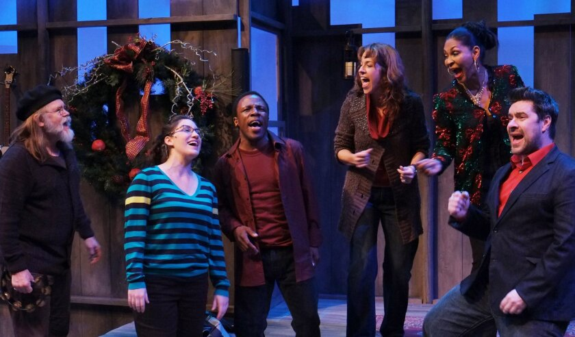 """Nathan Peirson, Caitie Grady, Leonard Patton, Joy Yandell, Anise Ritchie and Jon Lorenz (left to right) in """"Catch a Falling Star."""""""