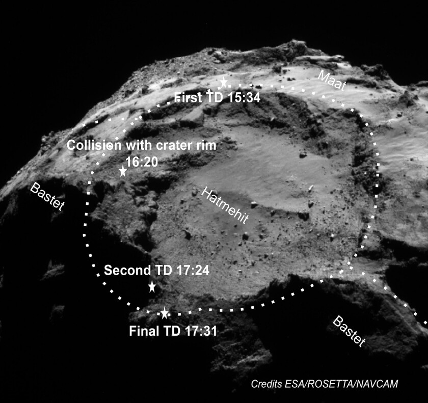 This navigational camera image shows the two sites where Rosetta's Philae lander touched down on comet 67P/Churyumov-Gerasimenko.