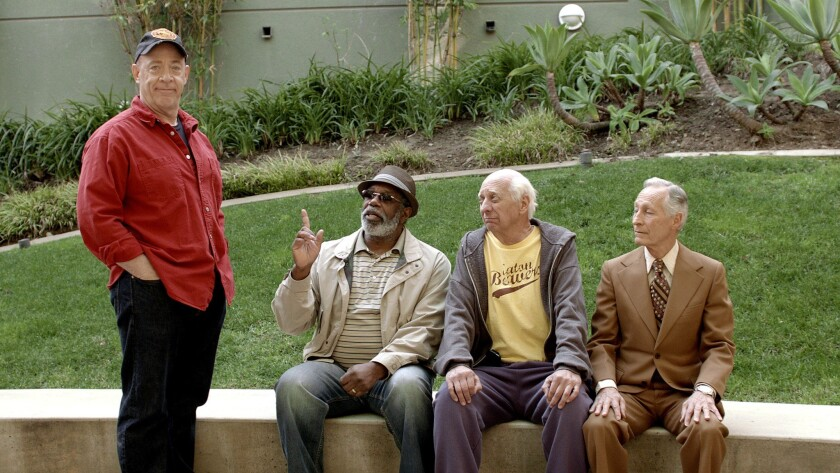 """From left to right: J.K. Simmons, Lou Beatty Jr., Basil Hoffman and Tony Cummings in a scene from the movie """"3 Geezers."""""""