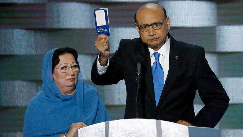 Khizr Khan with his wife, Ghazala Khan, during the Democratic National Convention.