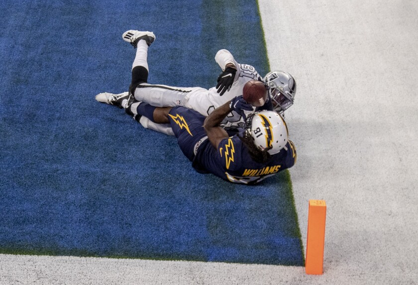 Chargers wide receiver Mike Williams seems to catch the winning touchdown in the end zone.
