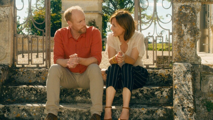 "(L-R) Matt Walsh as Stuart and Judith Godr?che as Louise in the romantic comedy ""UNDER THE EIFFEL TO"