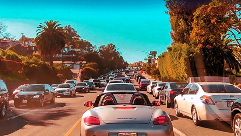 Traffic along Torrey Pines Road comes to a stand-still the afternoon of Jan. 7, 2019, due to construction projects on both sides of the street, frustrating motorists for hours.