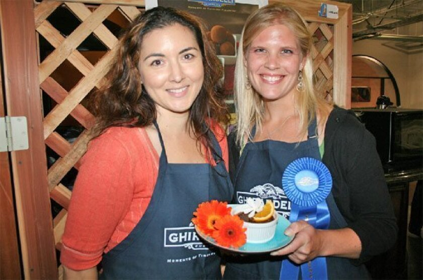 First-time competitors Stacy Ricksecker (left) and Kristen Hoch won the chocolate recipe contest at the 2009 San Diego County Fair.