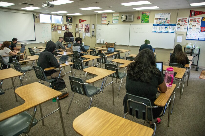 Students at Vista High in a classroom following reopening Oct. 20
