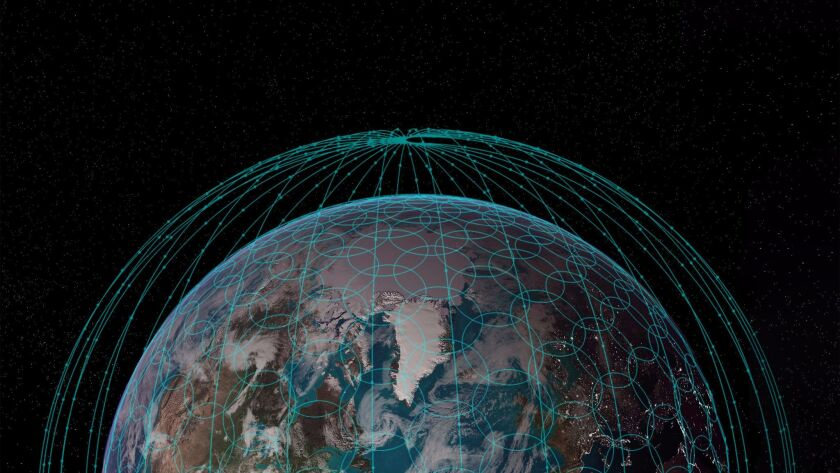 A rendering of satellite broadband coverage that could be provided by OneWeb's proposed network of hundreds of satellites.