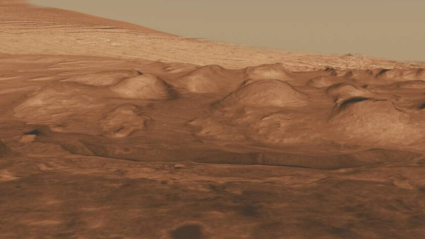 <p>Sediments in Gale Crater (above) and other parts of Mars suggest that a change in the planet's ti
